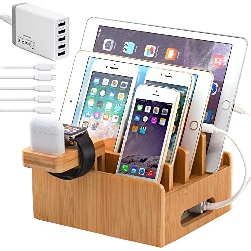 Bamboo Charging Station for Multiple Devices with 5 Port USB Charger, 5 Charger Cables and AirPod & Watch Stand. Pezin & Hulin Desk Wood Docking Stations Electronic Organizer for Cell Phone, Tablet,