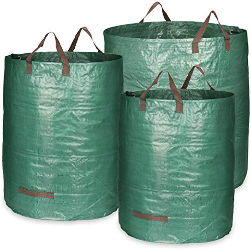 com-four® 3X Gartensack mit Tragegriffen - Faltbarer Gartenabfallsack in 3 Größen - Reißfeste Falttonne für Laub und Grünschnitt (500 l + 300 l + 272 l - 3 Stück)