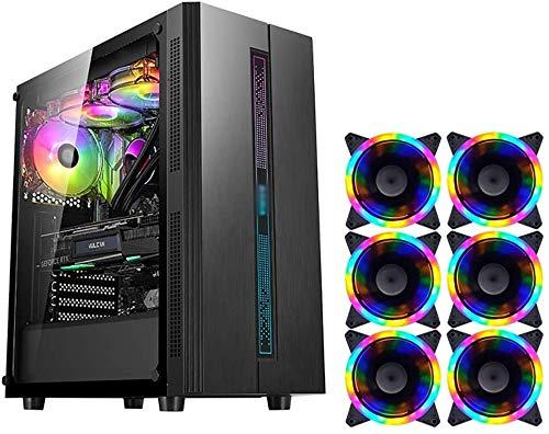 Wyl PC Gaming IR? Uso, Mid Tower ATX/M-ATX/ITX PC Caja de computadora, Lado Transparente, Configurar Fan Colorido, para computadora de computadora PC (Color : Black, Size : 6 Fan)