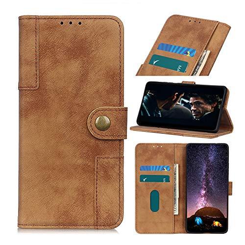 TOPOFU Hochwertige Leder Handyhülle für Samsung Galaxy S10 lite/A91 Hülle, Flip Hülle Tasche mit Magnetverschluss, Leder Schutzhülle mit Kreditkarten - Braun