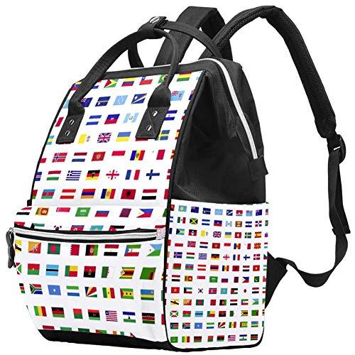 Bennigiry World Flags Sac à langer Sac à dos de voyage Grande capacité Sac à dos Organisateur Multifonction Bébé Sacs pour maman