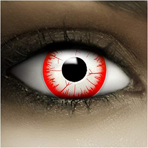 Farbige Kontaktlinsen ohne Stärke Night Zombie + Kunstblut Kapseln + Kontaktlinsenbehälter, weich ohne Sehstaerke in weiß und rot, 1 Paar Linsen (2 Stück)