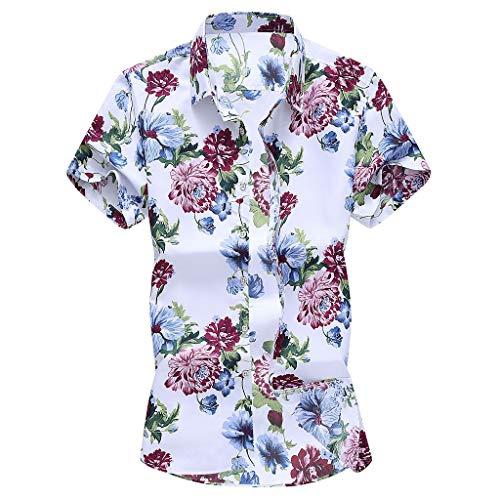 Yowablo Tops à la Mode pour Hommes Slim lâche Hawaii à Manches Courtes imprimé T-Shirt à col Rabattu (5XL,7Multicolore)