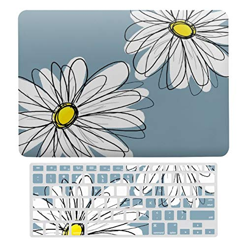 MacBook Air 13 Inch Case(A1369 & A1466, Older Version 2010-2017 Release), Plastic Hard Protective Laptop Case Shell with Keyboard Cover, Whimsical Floral Pattern in Yellow Gray Blue