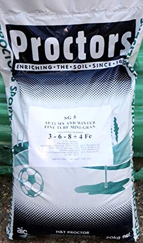 New this year - 20kg sack of Proctors Autumn & Winter Lawn Feed with iron to kill moss - 571 sq m...