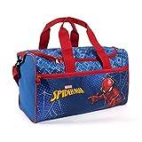 PERLETTI Bolsa Deporte Infantil Spiderman con Bandolera - Mochila Gimnasio para Niños Marvel Spider Man Azul y Rojo - Bolso Deportivo Niño con Hombre Araña de Viajes y Tiempo Libre - 35x22.5x15