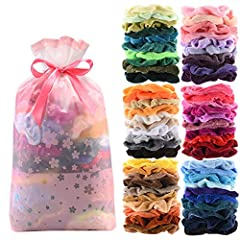 1.What You Get: Package includes 60 pieces different color scrunchies, enough for daily wearing or sharing with friends and families. These colorful velvet scrunchies are suitable for various occasions, such as parties, ceremonies or daily wearing, m...