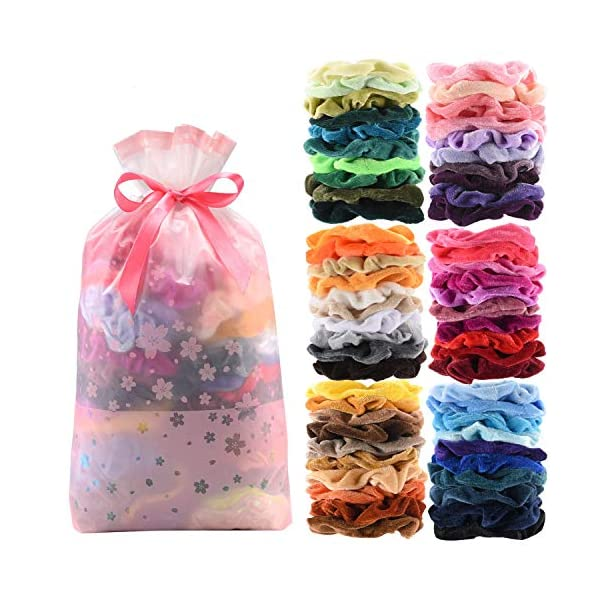 Beauty Shopping 60 Pcs Premium Velvet Hair Scrunchies Hair Bands for Women or Girls Hair Accessories