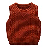 Anbaby Little Boy's Knit Sweater Vest Kids Round Neck Students Pullover Dark Orange 110