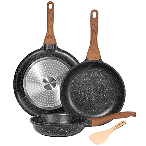 ESLITE LIFE Frying Pan Set Nonstick Skillet Set Induction Compatible With Granite Coating 3 Piece, 8 Inch, 9.5 Inch and 11 Inch