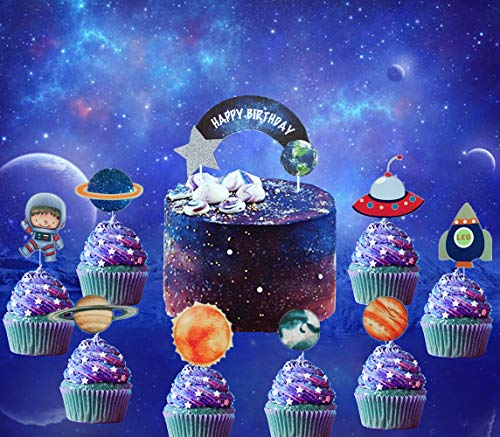27 PCS JeVenis Solar System Birthday Cake Topper Space Cupcake Toppers Rocket Cake Decorations Planets Cupcake Toppers for Space Theme Party Planets Birthday Party