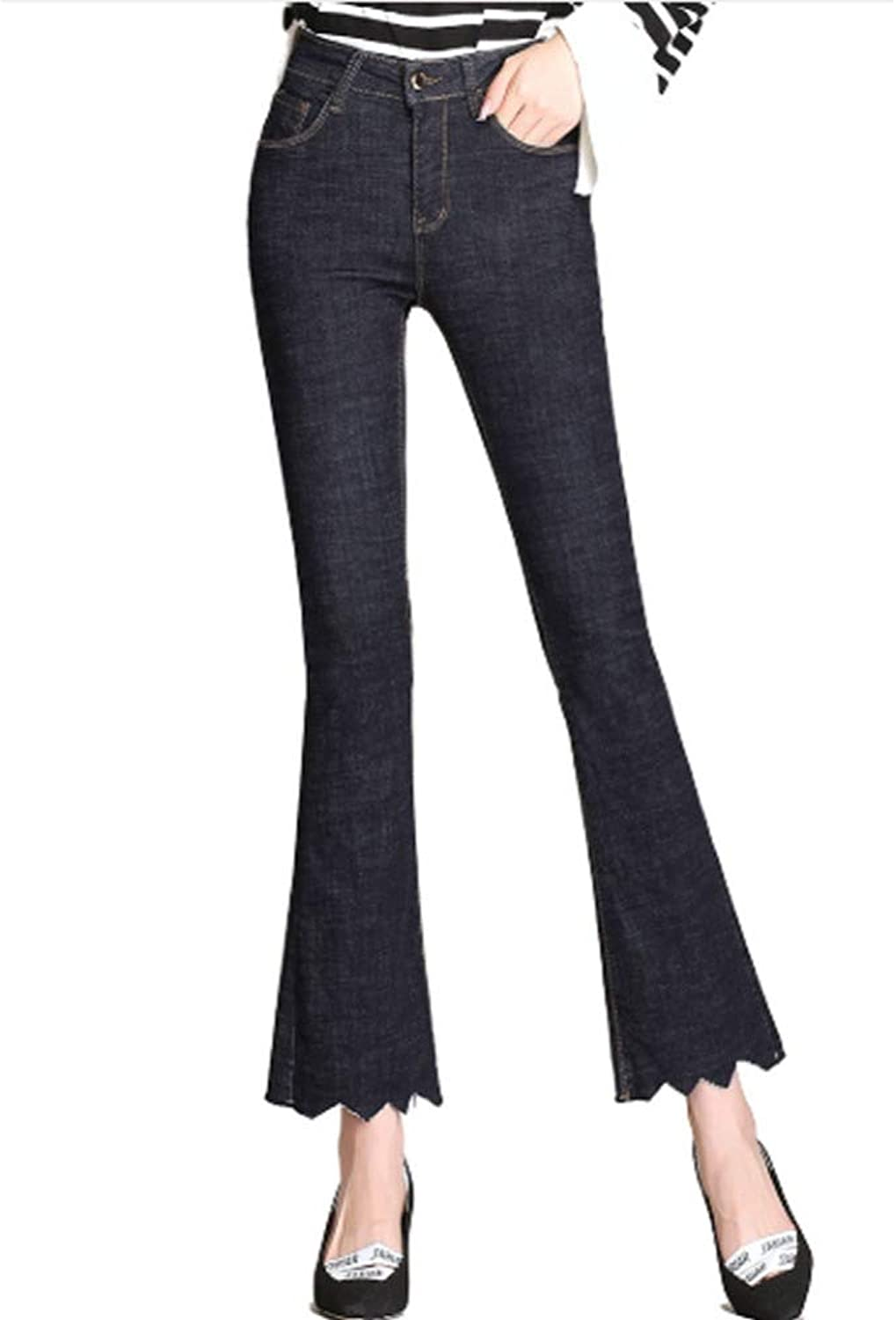 QJKai Women's High Waisted Flared Jeans Fashion Sexy Stretch Skinny Cowboy Long Pants Spring Black Plus Size Slim Flare Bootcut Pants