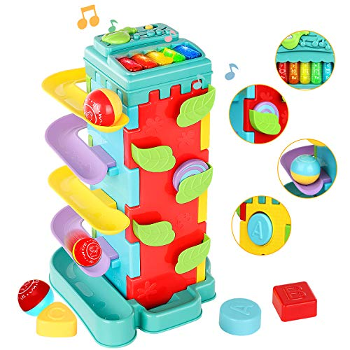 INSOON 4 in 1 Activity Cube Toys Toddler Toys for 1 2 3 4 Years Old Girls Boys Race Ball Ramp Track Toy Preschool Educational Toys Gift for Birthday Christmas STEM Toys for Kids Ages 18M+