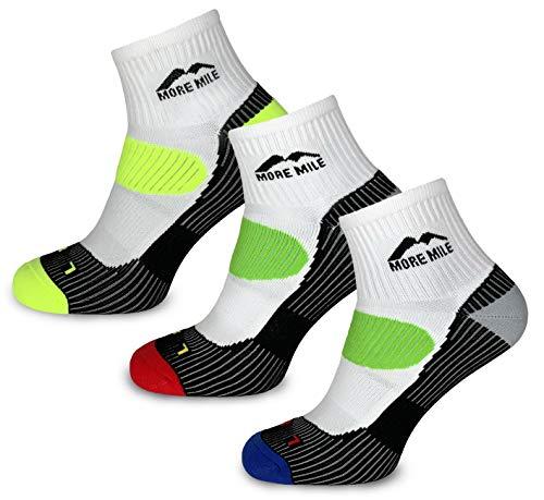 More Mile pour homme Lot de 3 paires de chaussettes de course London, Homme femme, blanc