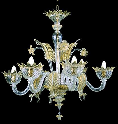 Muranese Kronleuchter aus Murano-Glas 6-armig golden bernsteinfarbenen