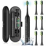 Sonic Toothbrush ,Electric Toothbrushes for Adults ,Rechargeable Whitening Toothbrush with 6 Duponts Brush Heads, 5 Modes, 4 Hour Charge for 50 Days Use, Waterproof Powerful Electric Toothbrushes