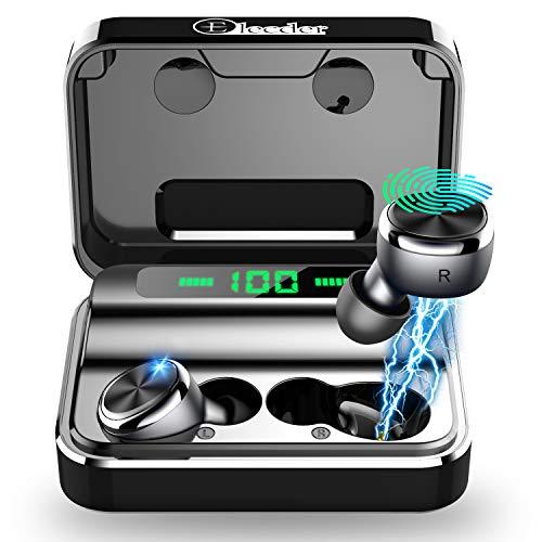 Elecder D15 Kabellose Ohrhörer Bluetooth Kopfhörer 5.0 Noise Cancelling CV8.0 Kopfhörer im Ohr, LED-Digitalanzeige Ladetasche Eingebautes Mikrofon Sportkopfhörer mit tiefen Bässen für Sport (Schwarz)