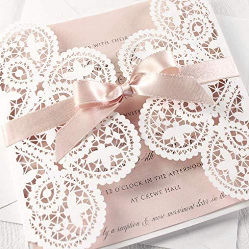 Lasergeschnittene Hochzeit Einladungskarten (Probe - Sample) DIY- Puderrosa mit weißer Spitze - Hochzeitskartenn + Kuvert + unabhängiges Drucken
