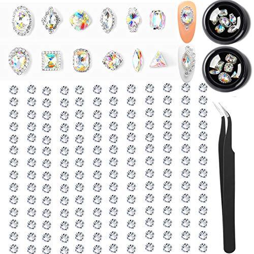 1452 Pcs Crystal Rhinestones Nail Art Set,3D Nail Art Decor Pink Gold Silver Crystal Flatback Glass Beads Charms Gems Stone Rhinestone Decorations for Nail Art DIY Phones Jewelry Eyes (Crystals Gem B)
