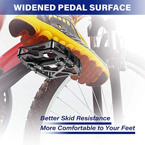 SGODDE Fahrrad Pedalen Mountainbike Rennrad Fahrradpedale, MTB Pedale mit Ultralight Aluminiumlegierung Platform und 3 Abgedichtete Läger, rutschfest Trekking Pedale mit Achsendurchmesser 9/16 Zoll - 6