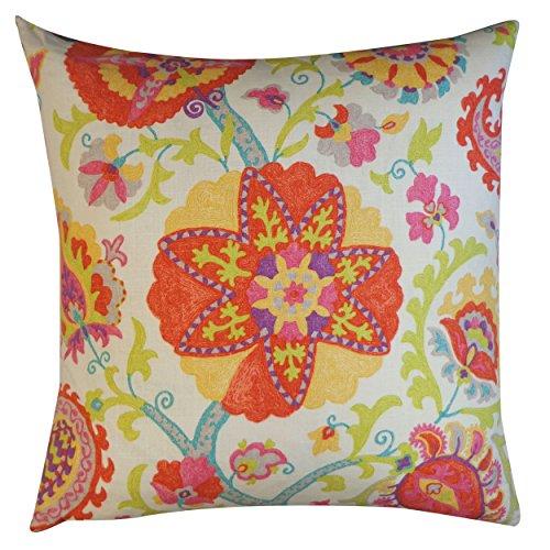 Jiti Amapola almohada decorativa de algodón, 26 x 26 pulgadas, color rojo