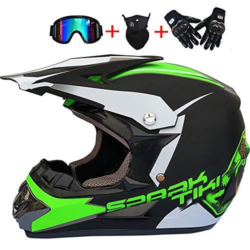 MMEDA Erwachsener Motocross Helm Grün schwarz mit Brille, Handschuhe (4 Stück), Motorradhelm Crosshelm Motorrad Enduro Downhill MTB Helm für Kinder Damen Herren Mountainbike BMX Quad Schutz,XL