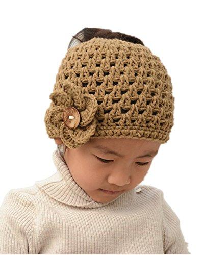 tinacrochetstudio Crochet Messy Bun Hats Ponytail Beanie Homemade Chirstmas Gifts (Child, Brown)