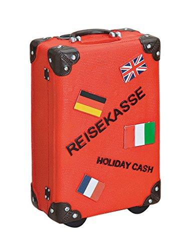 levandeo Spardose Sparbüchse Sparkoffer Koffer in rot - Sparschwein Urlaubskasse Urlaub Reiseziele Reisen Sparen Holiday