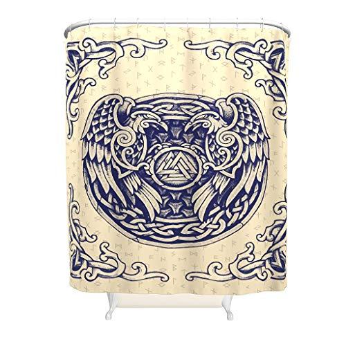 Viking Ravens Shower Curtain, Customisable Design, Easy-care, Bath Curtain with Hook, for Decorative Bathroom, White, 180 x 200 cm
