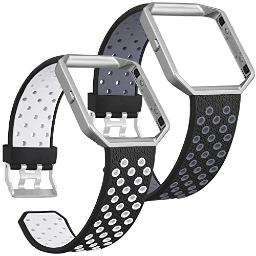 SKYLET Compatible with Fitbit Blaze Bands with Frames, 2 Pack Sport Silicone Replacement Breathable Wristbands Compatible with Fitbit Blaze Smart Watch Men Women Black