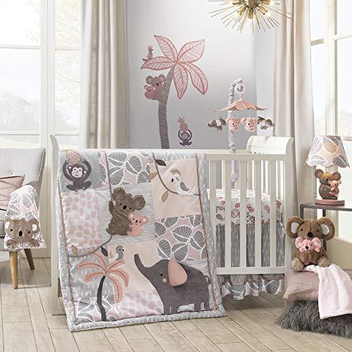 Lambs & Ivy Calypso 4-Piece Crib Bedding Set - Pink, Gray, Gold, Animals, Jungle