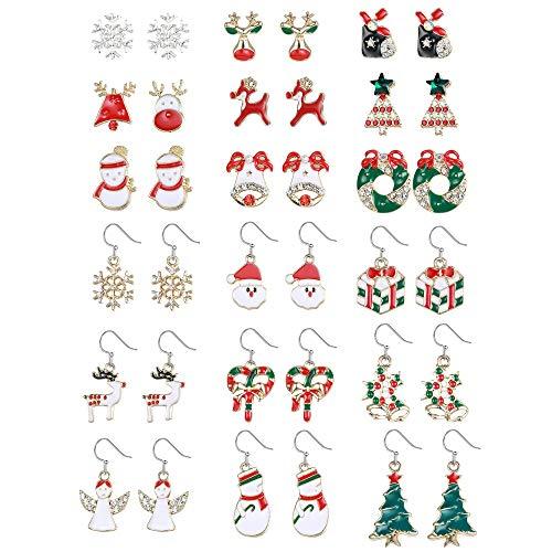 Milacolato 14-18Pairs Pendientes Colgantes de Navidad Conjunto de Joyas Papá Noel Muñeco de Nieve Copo de Nieve...