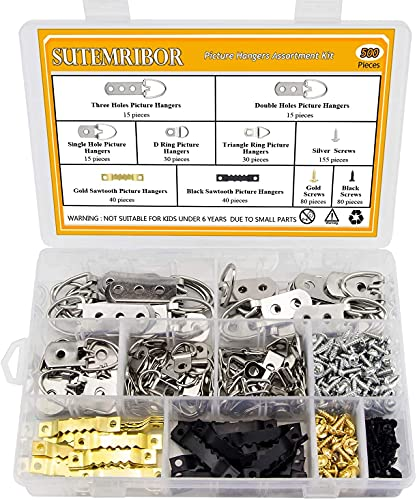Picture Hanging Kit 500 PCS, Sutemribor Heavy Duty Assorted Picture Hangers with Screws for Picture...