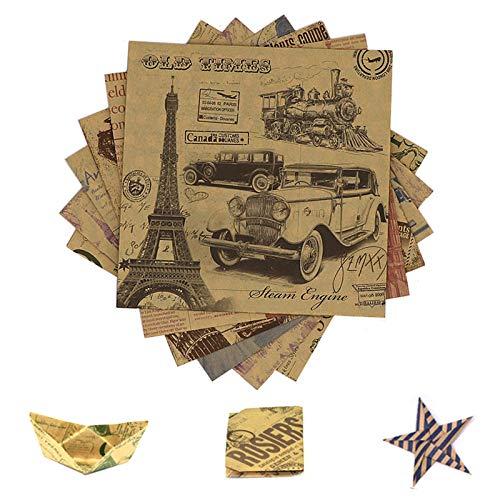 Papel de Origami Set Papel de Origami 15x15cm 120 Hojas Origami Papel de Doble Origami Papel para Papiroflexia Papel Papiroflexia Fácil Plegado Vintage Para DIY Paper Decorativa Manualidades