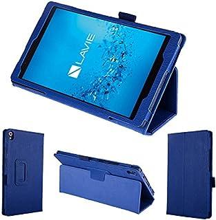 wisers 保護フィルム付 NEC LAVIE Tab S TS508/FAM PC-TS508FAM 8インチ タブレット 専用 木目調 ケース カバー [2017 年 新型] ダークブルー