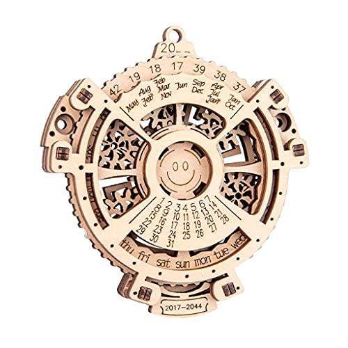WT-DDJJK Rompecabezas de Madera Calendario perpetuo 3D Precortado Desmontar Rompecabezas Montessori Reloj de Juguete para Centro de Actividades