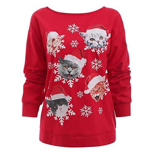 Fenverk Damen Schneeflocke Lange äRmel Sweatshirt Jumper Mode Frau Weihnachten Katze Drucken O-Neck Oben Hemd Neuheit Tops(rot,M)