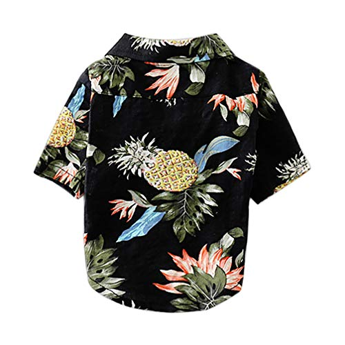 Balacoo Camisas de Perro Hawaiano Camisa de Cachorro Ropa de Verano para Mascotas para Peluche Chihuahua Yorkshire Poodle Cachorro Maltés Pug Azul Marino Tamaño S