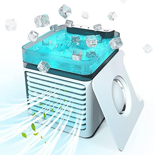 YANRU Evaporativo Portatil - Luces Led De 7 Colores Aire Acondicionado Portatil para Coche - Utilice Solo Agua Limpia Enfriador De Aire PortáTil - para El Dormitorio De La Oficina De Viajes En Casa