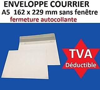 70d88be8d1 lot de 500 enveloppe courrier A5 - C5 papier velin blanc 90g format 162 x  229