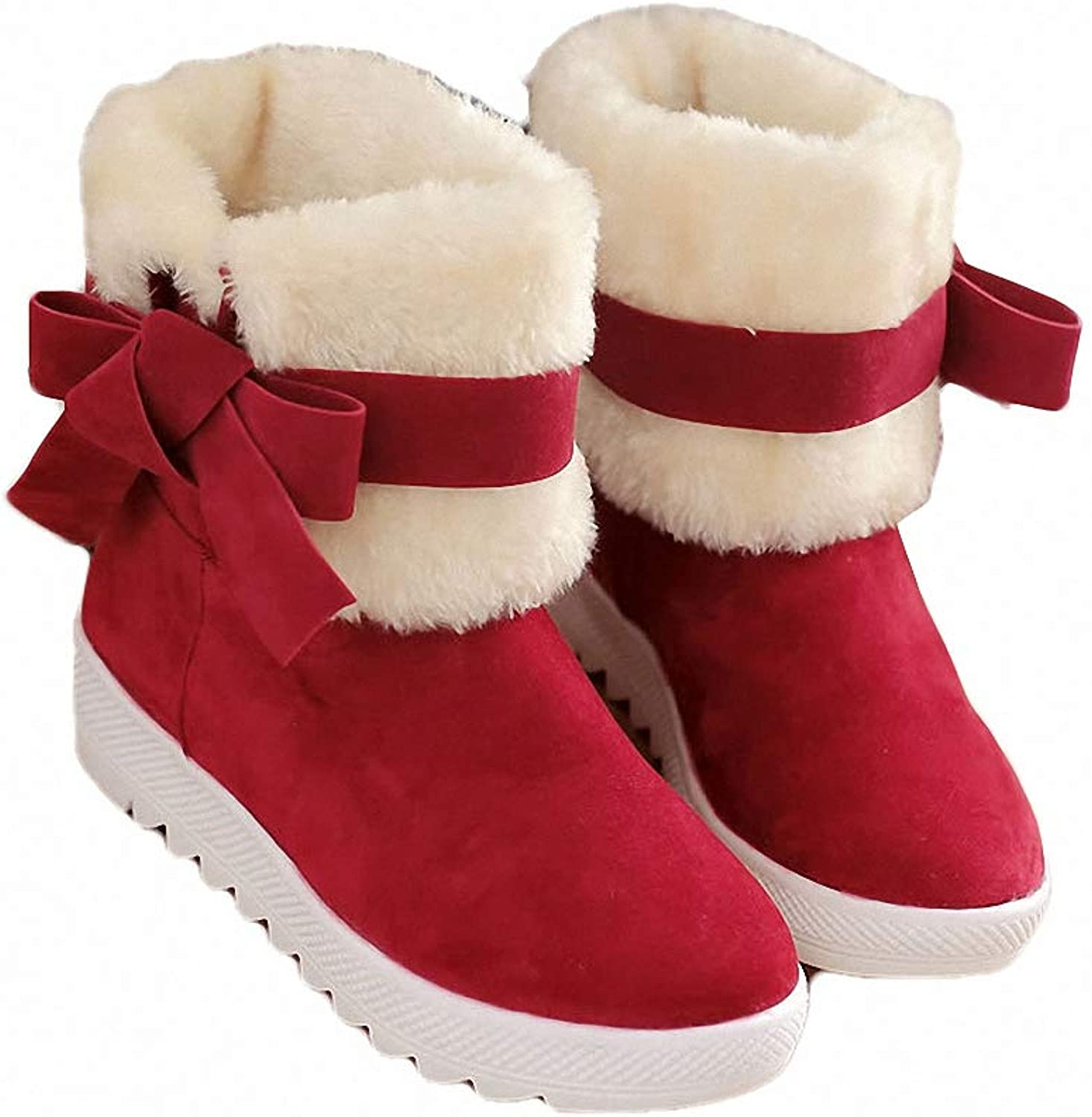Kyle Walsh Pa Girls Winter Boots Round Toe Bow Knot Cute Ankle Booties Non-Slip Flat Boots for Women