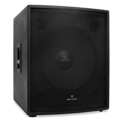 "Malone PW-18P DJ (PA Speaker Passive 18"" Subwoofer 1250W RMS Standard 35mm Connection Side Handles 4Ohm) - Black from Malone"