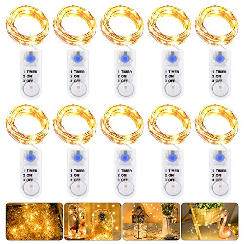 LED Lichterkette Batterie mit Timer, 10 Stück 2M 20LED Micro Batterie-betrieben Kupfer Drahtlichterkette Weihnachtsbeleuchtung für Zimmer, Innen, Weihnachten, Außen, Party, Hochzeit, DIY