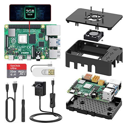 TICTID Raspberry Pi 4 Modèle B (4 B) 1Go Upgraded for Raspberry Pi 3 Starter Kit 2019 Version 32Go Classe 10 Micro SD Carte Alimentation Interrupteur Marche/Arrêt Ventilateur Boîtier Noir Dissipateur