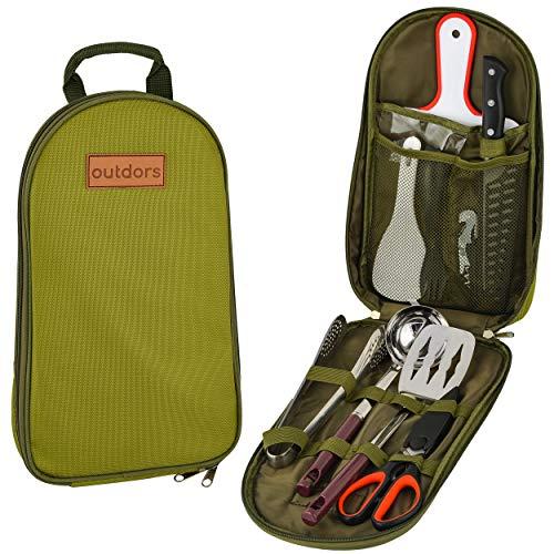 Outdors Camping Kochutensilien Set 10-teilig - inkl. 2 Göffel - Camping Kochset mit Tasche - Tragbares Camping Utensilien-Set für Camping, Wandern - Camping Utensilien mit Koch- und Servierwerkzeugen