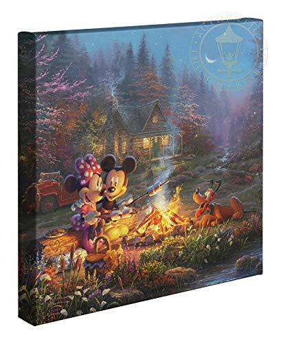 Thomas Kinkade Studios Disney Mickey and Minnie Sweetheart Campfire 14 x 14 Gallery Wrapped Canvas