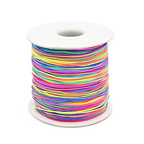 Cordón de cuentas elásticas de 120 m, cordón de hilo elástico para hacer collares, pulseras, joyería para niños, manualidades hechas a mano, diadema trenzada