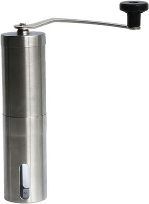 手回しグラインダーステンレススチール手動コーヒーグラインダーホームクランクグラインダー粉砕機コンパクトポータブルミニ洗浄,銀