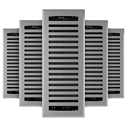 Imperial RG3445 Montezuma Decorative Floor Register, 4 x 12-Inch, Grey Granite, 5 Pack