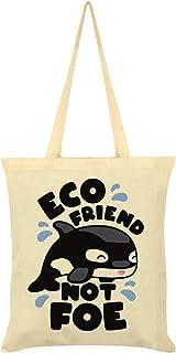 Whale Eco Friend Not Foe Tote Bag Cream 38x42cm